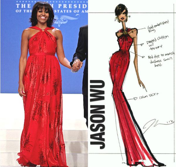 Jason Wus Sketch Of Michelle Obamas Inauguration Gown Soph