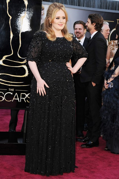 adele jenny packham black gown with harry winston jewls
