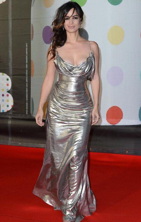 Berenice Marlohe donned a head-turning Donna Karan Atelier metallic gown