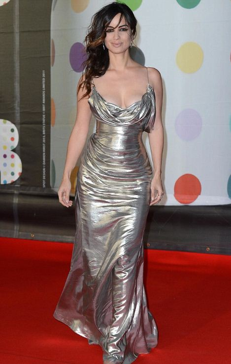 Berenice Marlohe donned a head-turning Donna Karan Atelier metallic gown