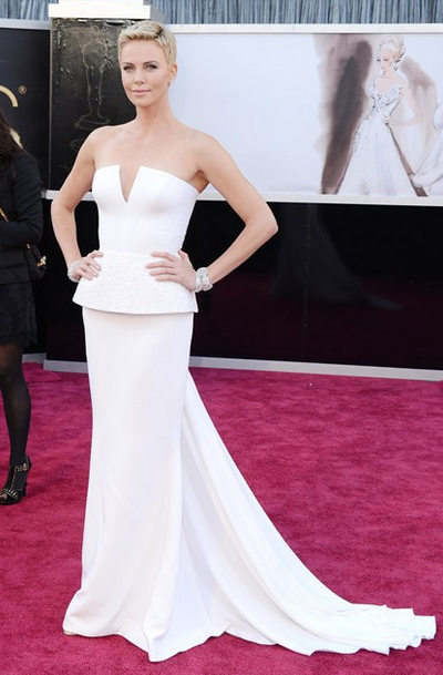 charlize theron white dior couture gown harry winston jewels