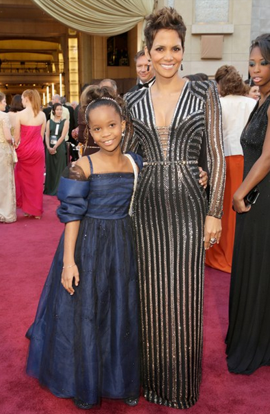 halle berry versace sequin gown with Quvenzhane Wallis wearn Giorgio Armani