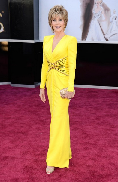 jane fonda versace dress with chopard jewels with jimmy choo clutch
