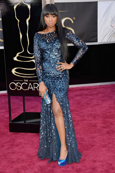 jennifer hudson roberto cavalli dress jimmy choo clutch