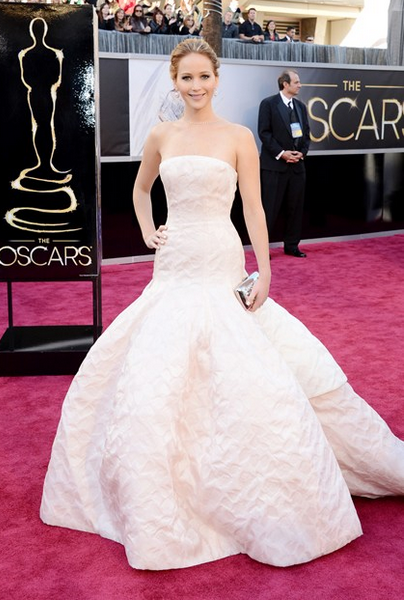 jennifer lawrence dior couture gown chopard jewelry roger vivier bag