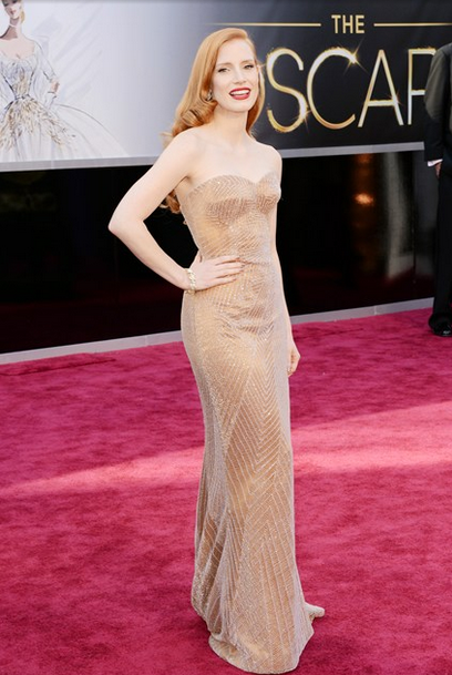 jessica chastain giorgio armani vintage harry winston diamonds