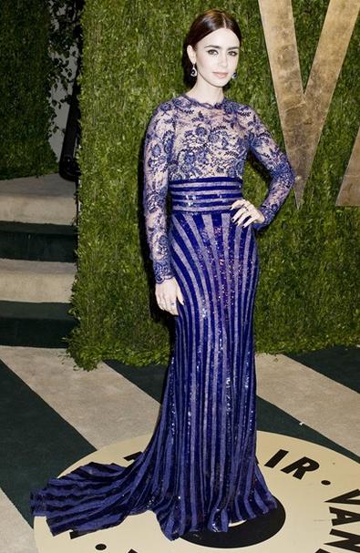 Lily collins Zuhair murad blue sequin dress