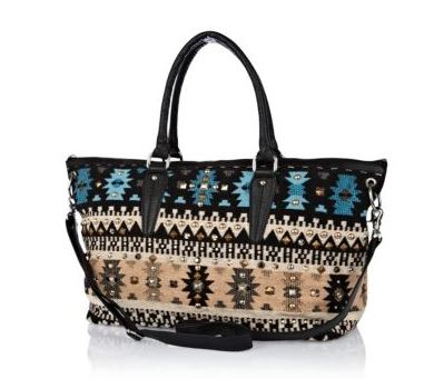 river island - blue woven studded holdall - 45