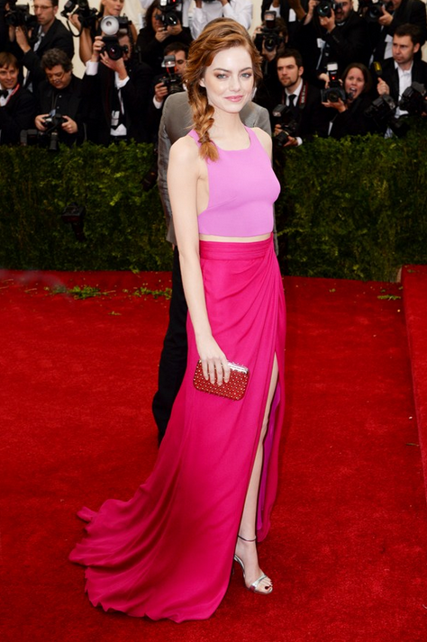 emma stone custom made top and skirt by Thakoon and Tods clutch