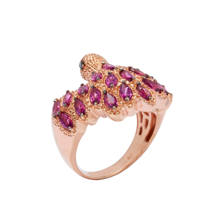 Eagle Ring. 2.68cts. Rhodolite Garnet. Black Spinel. Rose Gold Plated Sterling Silver