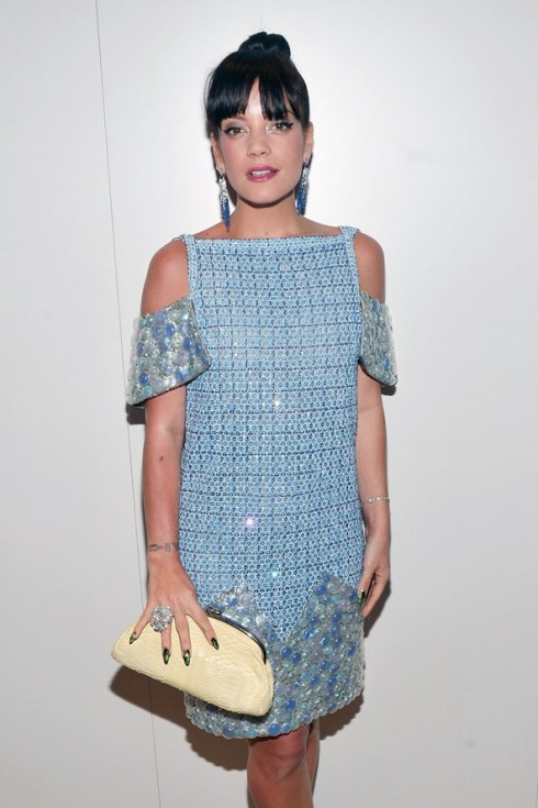 lily allen chanel couture blue tweed